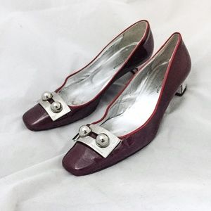 Dolce & Gabbana red patent leather mod pump , 38.5